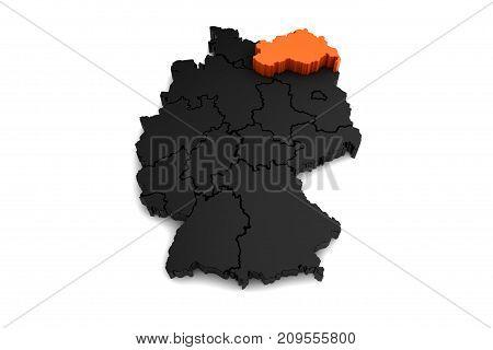 black germany map, with Mecklenburg-Vorpommern region, highlighted in orange.3d render
