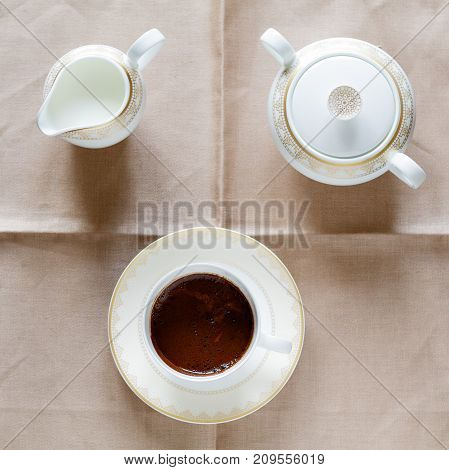 Coffee Creamer sugar CHOCOLATE CANDY ON THE TABLE