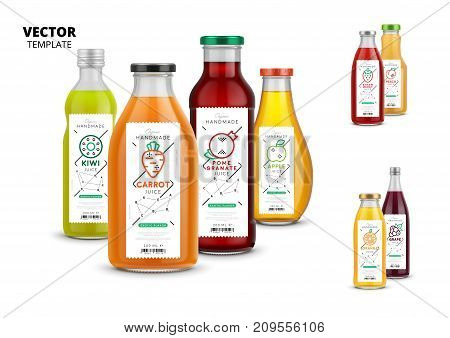 Fresh juice realistic glass bottles with labels. Healthy organic product, natural vegan nutrition vector packaging identity. Apple, kiwi, pomegranate, orange, grape, carrot, peach and strawberry juice