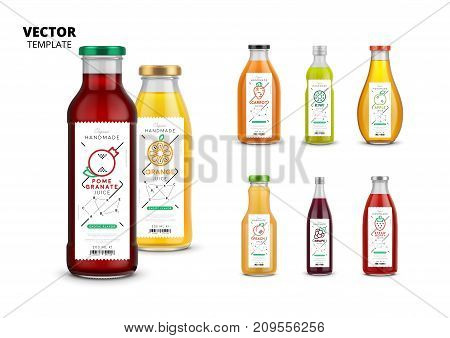 Fresh juice realistic glass bottles with labels set. Layout of food identity branding, packaging design for fresh fruit juice. Healthy organic product, natural vegan nutrition vector illustration