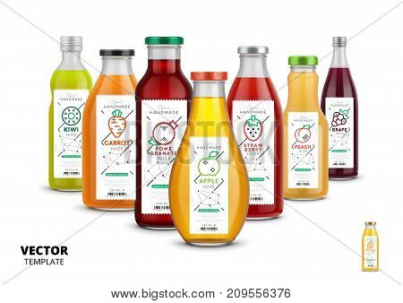 Apple, kiwi, pomegranate, orange, grape, carrot, peach and strawberry fresh juice trendy packaging set. Realistic glass bottles with linear labels. Layout of food identity branding vector illustration