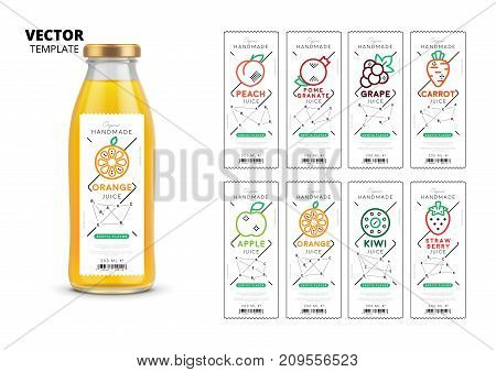 Fresh juice realistic glass bottle with labels. Healthy organic product, natural vegan nutrition vector packaging mockup. Apple, kiwi, pomegranate, orange, grape, carrot, peach and strawberry stickers