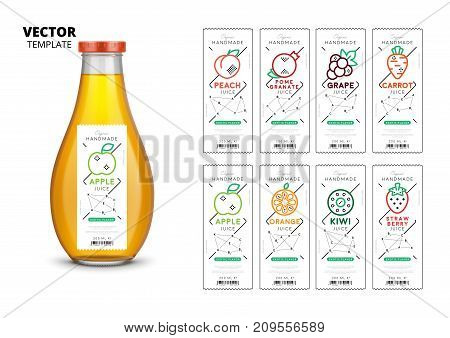 Apple, kiwi, pomegranate, orange, grape, carrot, peach and strawberry fresh juice packaging set. Realistic glass bottle with labels. Healthy organic product, natural vegan food vector illustration