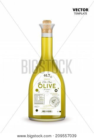 Extra virgin olive oil realistic glass bottle with label. Layout of food identity branding, modern packaging design. Healthy organic product, natural vegetarian nutrition vector illustration