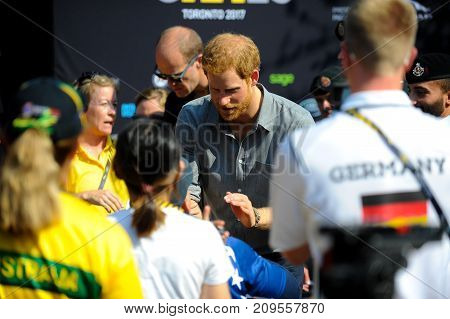 September 27 2017 Toronto Canada - His Royal Highness Prince Harry meeting with competitors during Invictus Games in Toronto Canada.