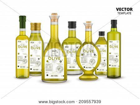 Extra virgin olive oil realistic glass bottles set with labels. Layout of food identity branding, modern packaging design. Healthy organic product, natural vegetarian nutrition vector illustration