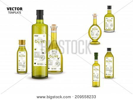 Natural extra virgin olive oil realistic glass bottles with labels isolated on white background. Layout of food identity branding, modern packaging design. Healthy organic product vector illustration