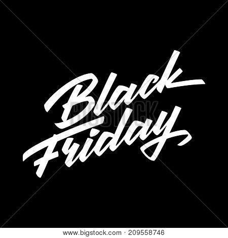 Black Friday Sale badge with handmade lettering, calligraphy and dark background for logo, banners, labels, prints, posters, web, presentation. Vector illustration.