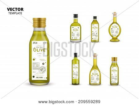Extra virgin olive oil canned glass bottles with labels. Layout of food identity branding, modern packaging design. Healthy organic product, natural vegetarian nutrition isolated vector illustration