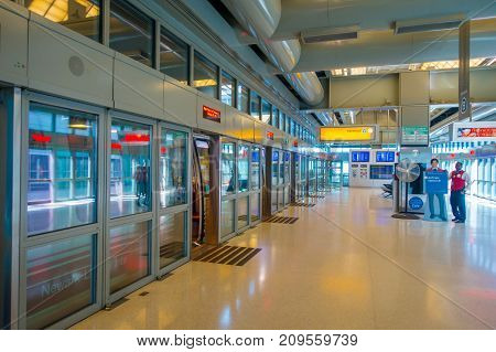 NEWARK, NJ - OCTOBER 16, 2017: Empty huts of revision visa with no people in the line in the International Airport of Delhi and crowd, Indira Gandhi International Airport is the 32th busiest in the world.