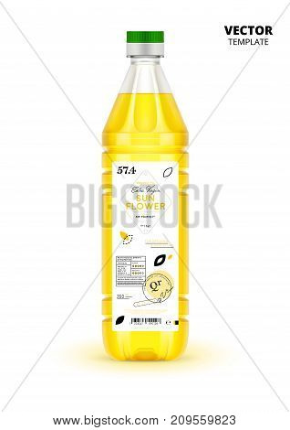 Realistic extra virgin sunflower oil plastic bottle with label. Layout of food identity branding, modern packaging design. Traditional healthy product, organic vegan nutrition vector illustration