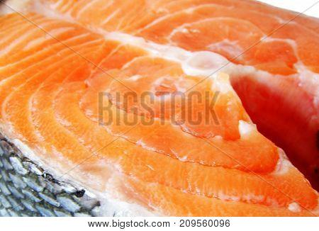 salmon steak close up . selective focus