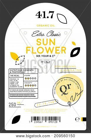 Organic extra virgin sunflower oil label template. Layout of food identity branding, modern packaging design. Healthy agriculture product, natural vegetarian nutrition vector illustration