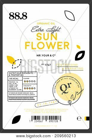 Premium quality extra virgin sunflower oil label. Layout of food identity branding, modern packaging design. Healthy traditional product, organic vegetarian nutrition vector illustration