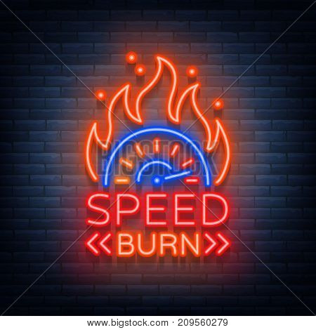 Speed burn logo emblem template vector logo in neon style. A glowing sign on the theme of the races. Neon sign, light banner.