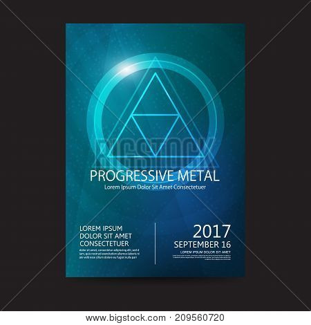 Progressive metal music festival sound poster. Electronic club fun music. Musical event disco trance sound. Night party invitation. DJ flyer poster.