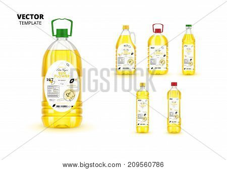 Premium quality extra virgin sunflower oil realistic plastic bottles with labels. Layout of food identity branding, modern packaging design. Healthy organic and natural product vector illustration