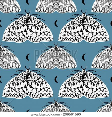Seamless pattern with moth butterfly. Beautiful naive style elements. Design for textiles, print in comic style. Pop art. Fashionable vintage repeating gothic vector background.