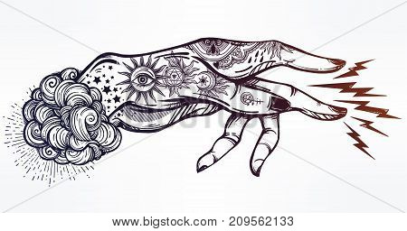 Flash magic. Inked human hand, sending magic hypnosis lightning beam drawing. Dotwork ink tattoo vintage design. Vector illustration isolated. Astrology, occult. alchemy, magic, nature symbol art.