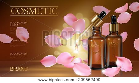 3d realistic flower natural organic cosmetic ad. Rose pink petal brown glass serum essence face oil droplet care. Bottle pipette golden promotional poster template vector illustration art