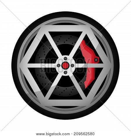 Car titanium rim icon. Consumables for car, auto service concept, wheel vehicle isolated on white background vector illustration.