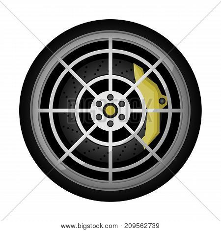 Modern car titanium rim icon. Consumables for car, auto service concept, wheel vehicle isolated on white background vector illustration.