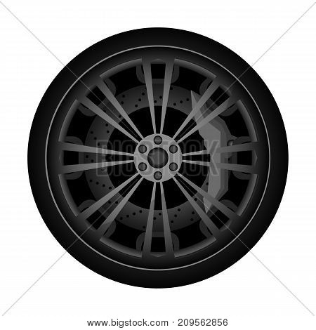 Automobile titanium rim icon. Consumables for car, auto service concept, wheel vehicle isolated on white background vector illustration.