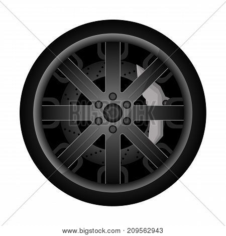 Car metal rim icon. Consumables for car, auto service concept, wheel vehicle isolated on white background vector illustration.