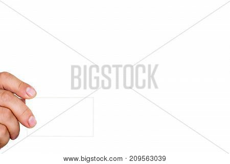Man's hand holds a card. Isolated on a white background. Copy space