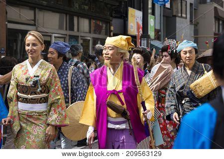 Tokyo, Japan - September 24 2017: International Participants In The Parade Of Shinagawa Shukuba Mats