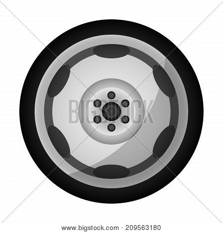 Modern auto rim icon. Consumables for car, auto service concept, wheel vehicle isolated on white background vector illustration.