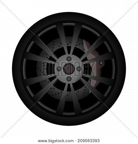 Rally car rim icon. Consumables for car, auto service concept, wheel vehicle isolated on white background vector illustration.