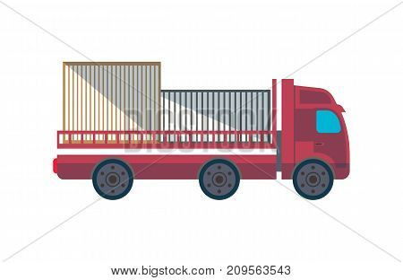 Lorry truck with containers side view icon. Commercial freight truck, vehicle for cargo transportation, trucking and delivery service vector illustration