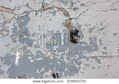 Wheathered concrete wall with great number of cracks.