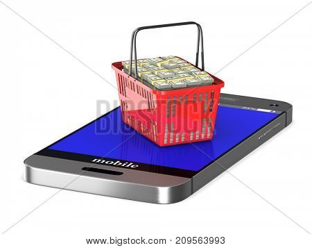 phone and red shopping basket on white background. Isolated 3d illustration