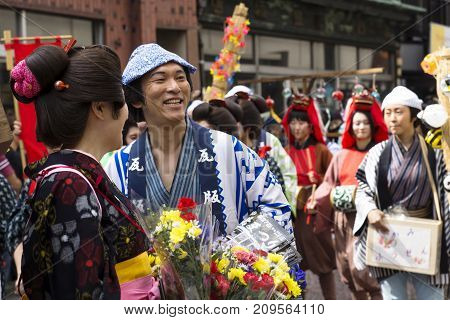 Tokyo, Japan - September 24 2017: Costumed Persons Are Talking And Laughing With Visitors During Par