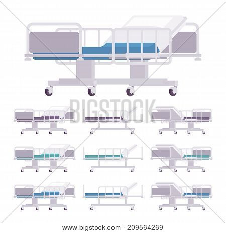 Hospital examination couch set. Medical patients exam bed, ward equipment, healthcare accessories, furniture, comfortable surface. Vector flat style cartoon illustration on white background