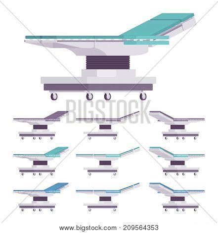 General surgical table set. Flexible patient positioning, functional surgical operation work, medical equipment operating board for surgery. Vector flat style cartoon illustration on white background