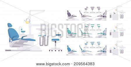 Dental equipment set. Dentistry technology products, office professional tools, medical equipment. Vector flat style cartoon illustration on white background