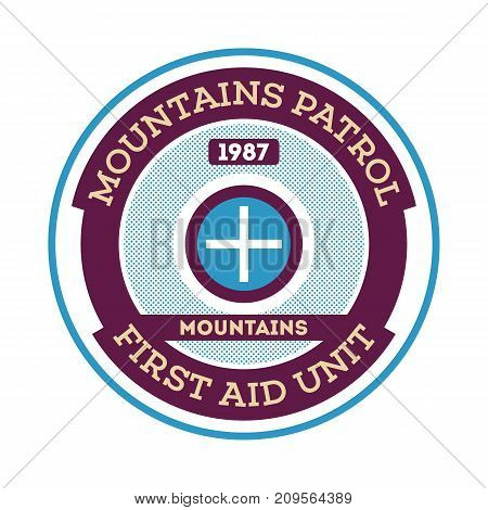 Mountains patrol isolated round label. Search and rescue badge, adventure outdoor emblem, expedition help vintage vector illustration