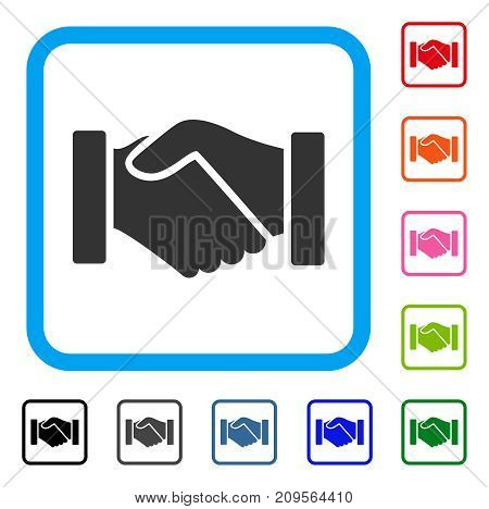 Acquisition Handshake icon. Flat grey pictogram symbol inside a light blue rounded frame. Black, gray, green, blue, red, orange color versions of Acquisition Handshake vector.