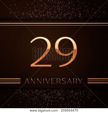 Realistic Twenty nine Years Anniversary Celebration Logotype. Golden numbers and golden confetti on brown background. Colorful Vector template elements for your birthday party