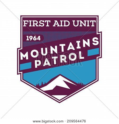 Snow patrol, first aid unit isolated label. Search and rescue badge, adventure outdoor emblem, expedition help vintage vector illustration