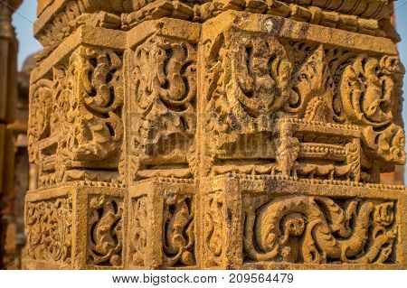 DELHI, INDIA - SEPTEMBER 25 2017: Close up of details of decorative carvings at Qutub complex in Delhi, India.