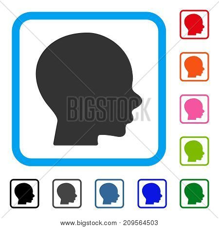 Boy Profile icon. Flat gray iconic symbol in a light blue rounded squared frame. Black, gray, green, blue, red, orange color additional versions of Boy Profile vector.