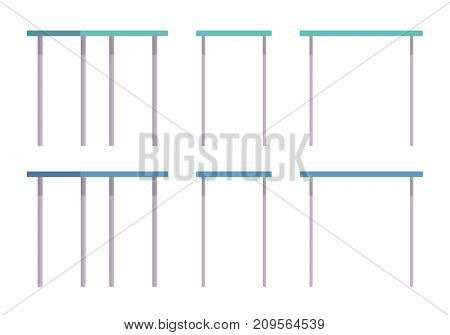 Medical table set. Workspace for physicians, hospital managers and specialties during exams or treatments. Vector flat style cartoon illustration on white background