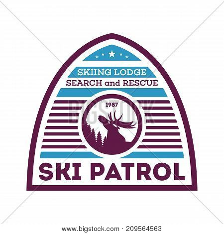 Ski patrol, first aid unit isolated label. Search and rescue badge, adventure outdoor emblem, expedition help vintage vector illustration
