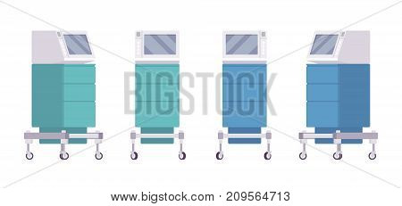 Medical monitor cart set. Charting equipment systems, mobile workstation technology. Vector flat style cartoon illustration on white background