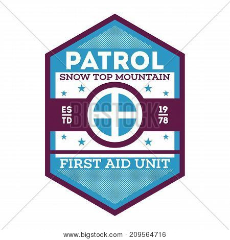 Patrol, first aid unit isolated label. Nature tourism badge, adventure outdoor emblem, expedition help vintage vector illustration