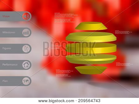 3D illustration infographic template with motif of round octagon horizontally divided to five yellow slices with simple sign and text on side in bars. Blurred photo used as background.